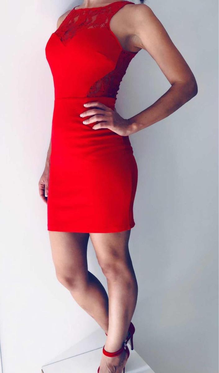 2d9d2cc46 Cargando zoom... vestido rojo corto encaje noche fiesta zara