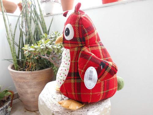 coruja em lã xadrez 30 cm linda  -