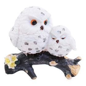Coruja Mãe E Filhote Brancos No Galho 10cm - Resina Animais