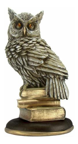 coruja sobre livros - sabedoria - estatueta 30,0 cm