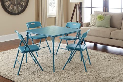 cosco 5-pieza plegable juego de mesa y silla, verde azulado