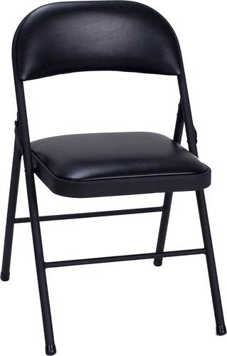 cosco vinilo paquete de 4 silla plegable, negro