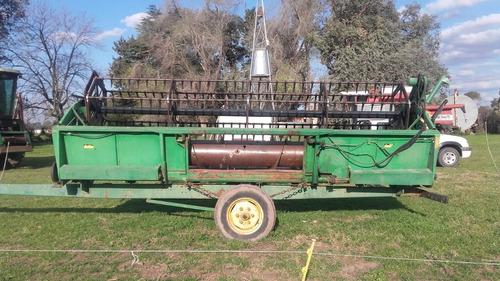 cosechadora john deere 1075, 19 pies. reparada p/trabajar!