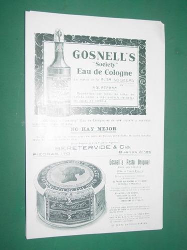 cosmeticos gosnells colonia pasta clipping publicidad