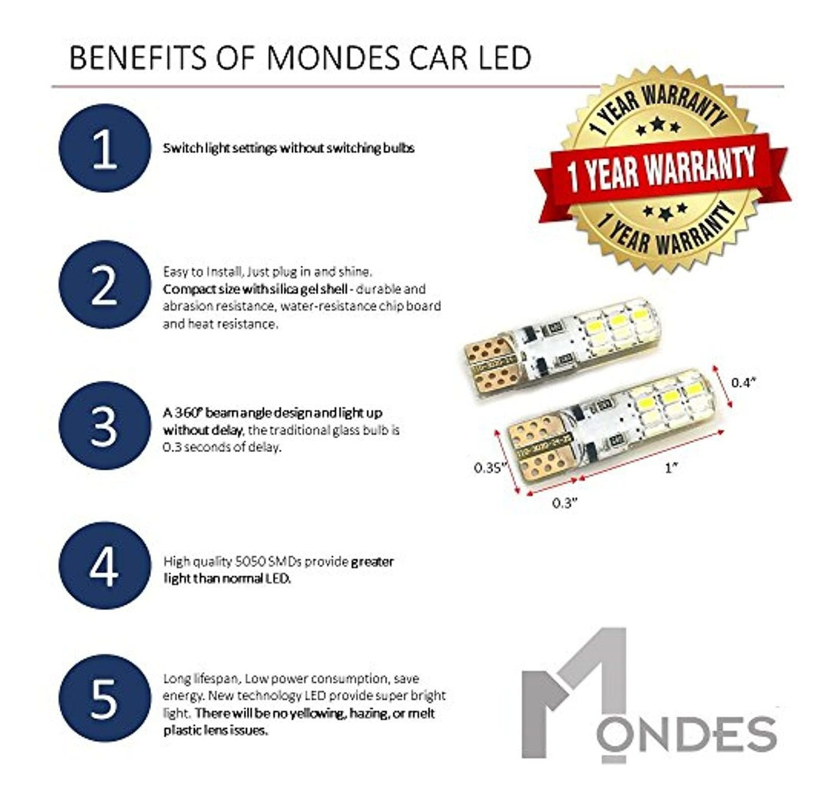 LED Replacement Bulbs 2-PACK T10 194 W5W 168 2825 TOP QUALITY 3020 LED Chips 12V DC by MONDES Super Bright 3-Color Mode Silica Gel Coated Chip Board
