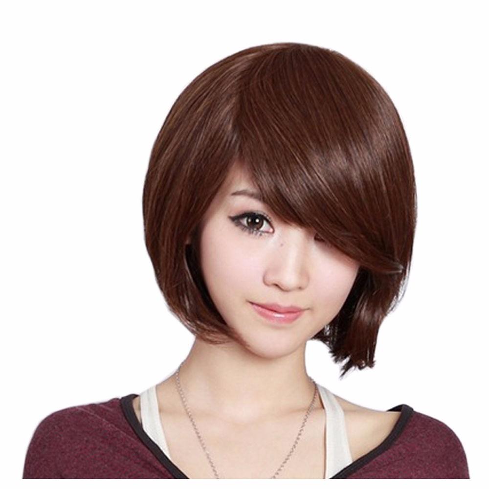 cosplay peluca cabello corto liso lacio castao cafe oscuro