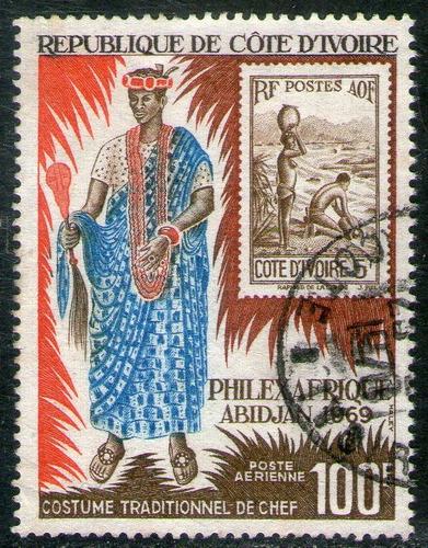 costa de marfil sello aéreo usado nativo = filatelia 1969