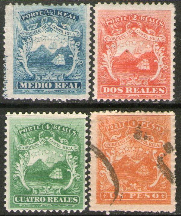 Costa Rica 1° Serie X 4 Sellos Escudo De Armas Año 1862