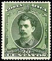 costa rica 1889 sc #29 bernardo soto alfa 20c con matasello.