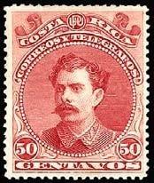 costa rica 1889 sc #30 bernardo soto alfa 50c con matasello.