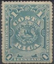 costa rica 1892 sc #35 escudo 1c con matasello.