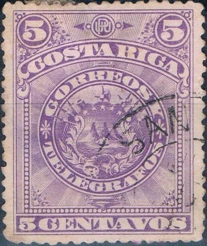costa rica 1892 sc #37a escudo  violeta 5c con matasello.
