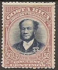 costa rica 1901 sc #50 jose m. castro 50c con matasello.