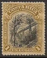 costa rica 1901 sc #51 puente birris 1 colon con matasello.