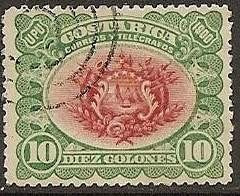 costa rica 1901 sc #54 escudo de armas 10c con matasello.