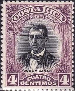 costa rica 1903 sc #55 josé maría cañas 4c con matasello.