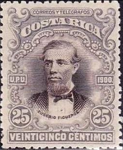 costa rica 1903 sc #57 eusebio figueroa 25c con matasello.