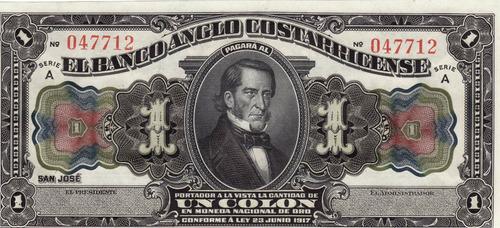 costa rica, billete tipo fórmula 1 colón, 1917, banco anglo