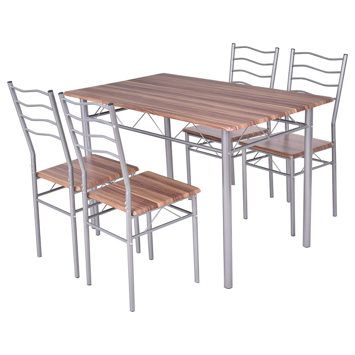 Kitchen Tables For Sale Cheap: Costway Set Comedor De 5 Pieza Mesa Metal Madera Y 4
