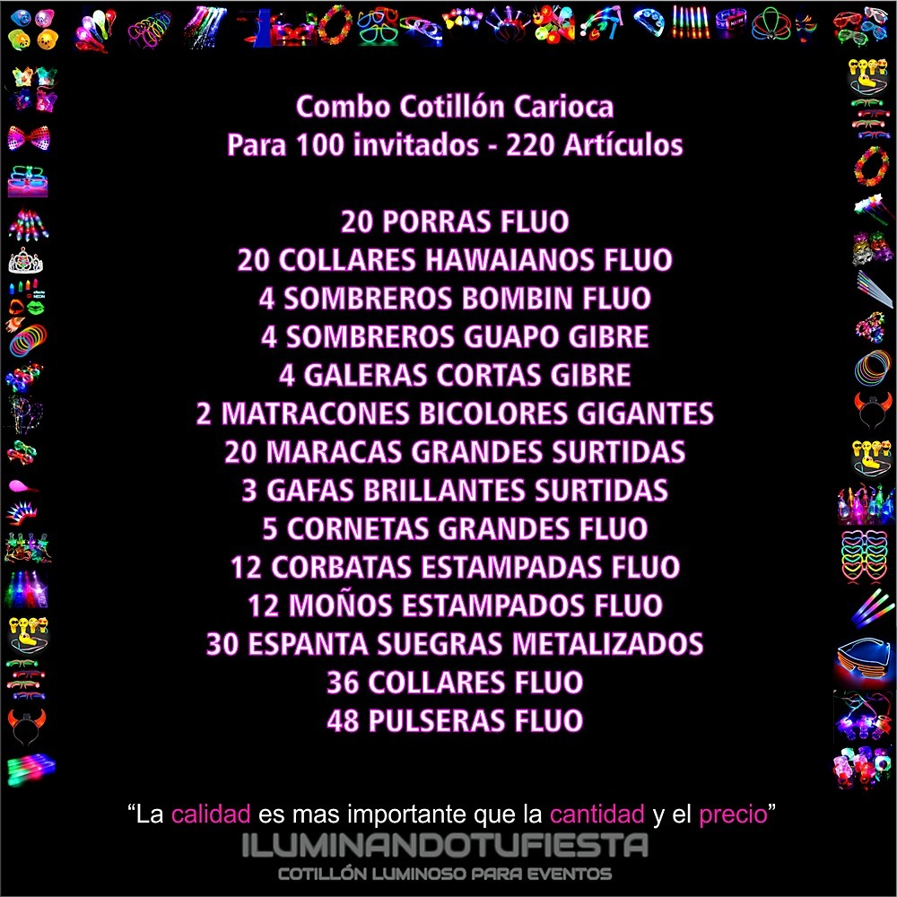 cotillón carioca combo 220 artículos flúo para 100 invitados. Cargando zoom. 7fe465fc250