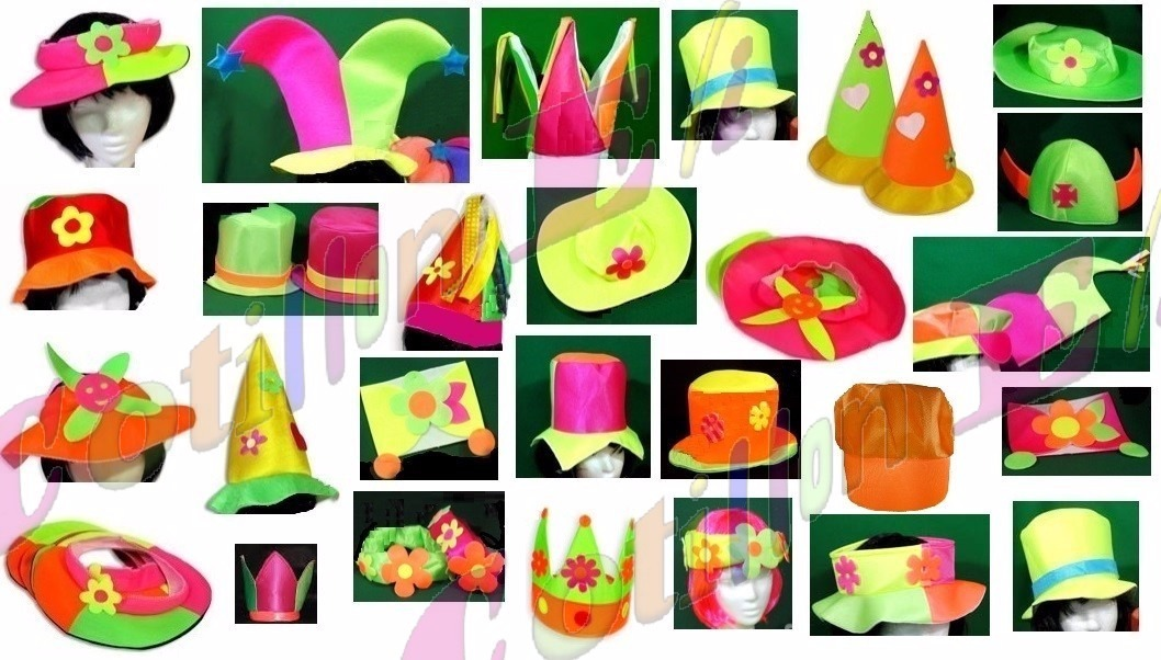 Combo Cotillon Fluo Sombreros Gorros Corbatas -   1.690 8b5638f90e4