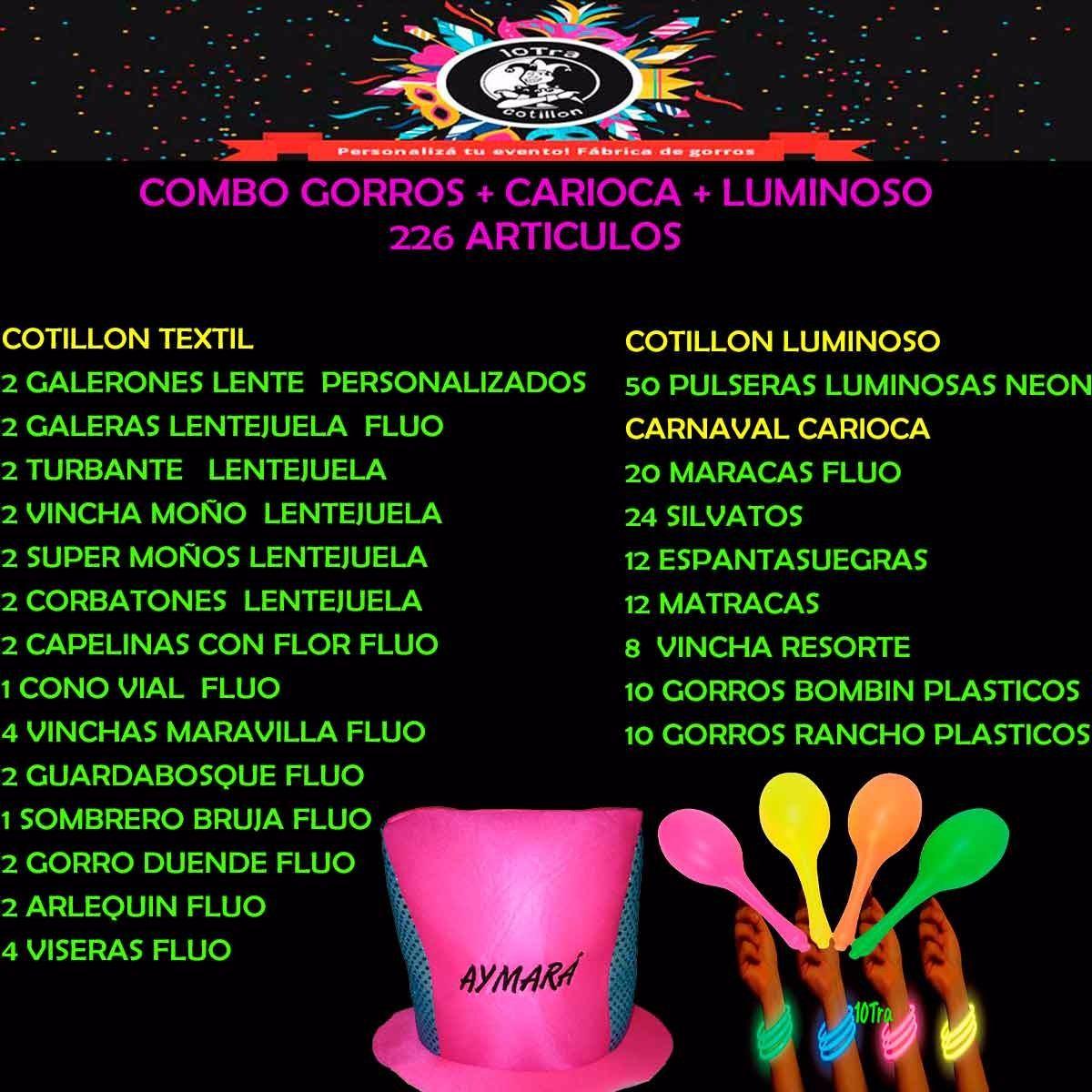 Cotillon 50 Personas Gorro Fluo + Carioca + Luminoso 226 Art ... eb51ed25c26