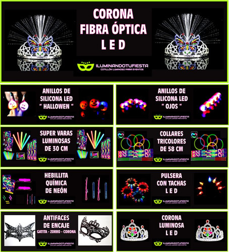 cotillón led 588 art 250 invit + maquillaje flúo + regalo