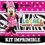 2x1 Kit Imprimible Minnie Cebra Cupcake Invitacion Tarjeta