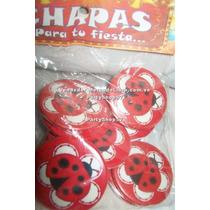 Mariquita Ladybug Chapas Set De 12 Cotillon