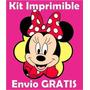 2x1 Minnie Mouse Kit Imprimible Invitaciones + Regalo