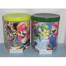 Potes Con Tapa Mario Bross, Pocoyo, Dora, Para Cotillones.