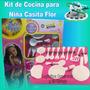 Kit Cocina Juguete Casita Flor 16 Accesorios Cubierto Calder