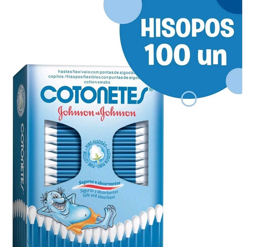 cotonetes de algodon seguros johnson & johnson x 100 und