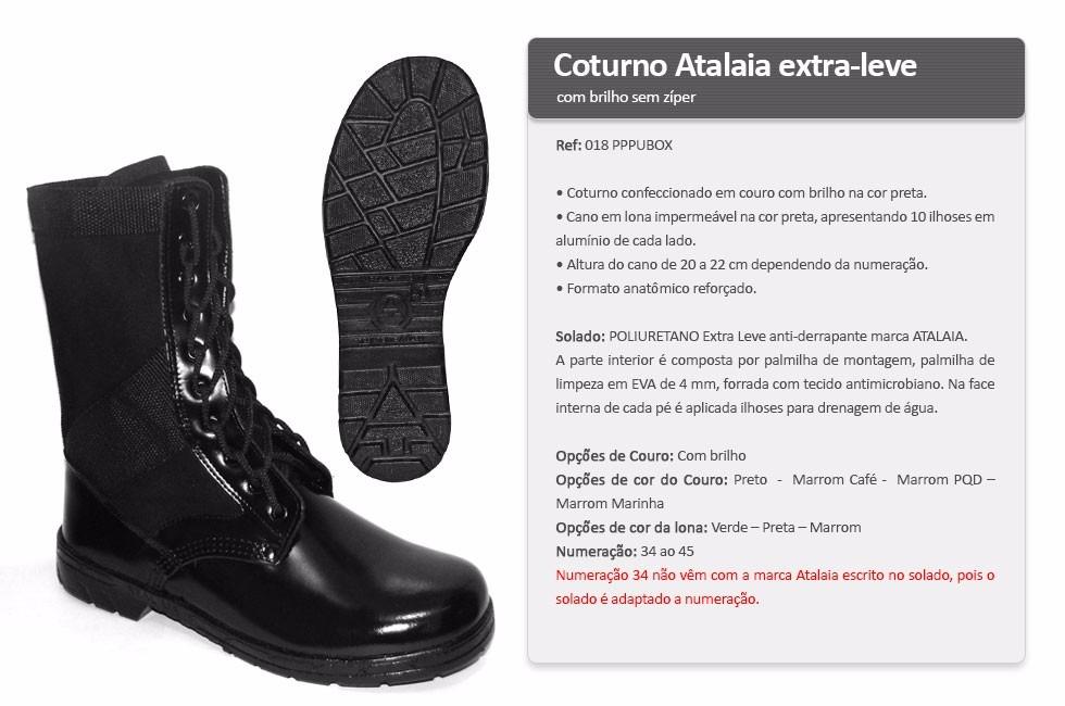 Coturno Atalaia Extra-leve Militar Exército Brilho Zíper - R  200 76c7b19e0e8f6