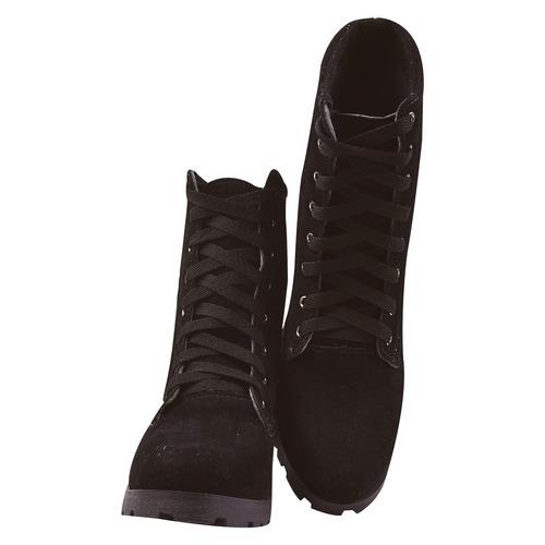 coturno bota feminina cano curto salto alto tratorado jln/1