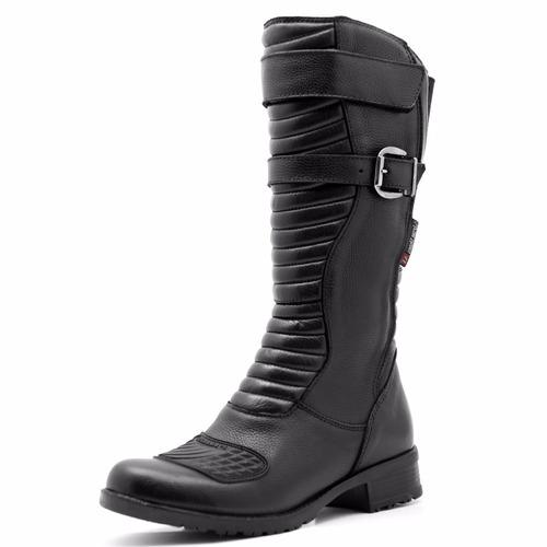 coturno bota feminina preta coturno couro legitimo ref 9117