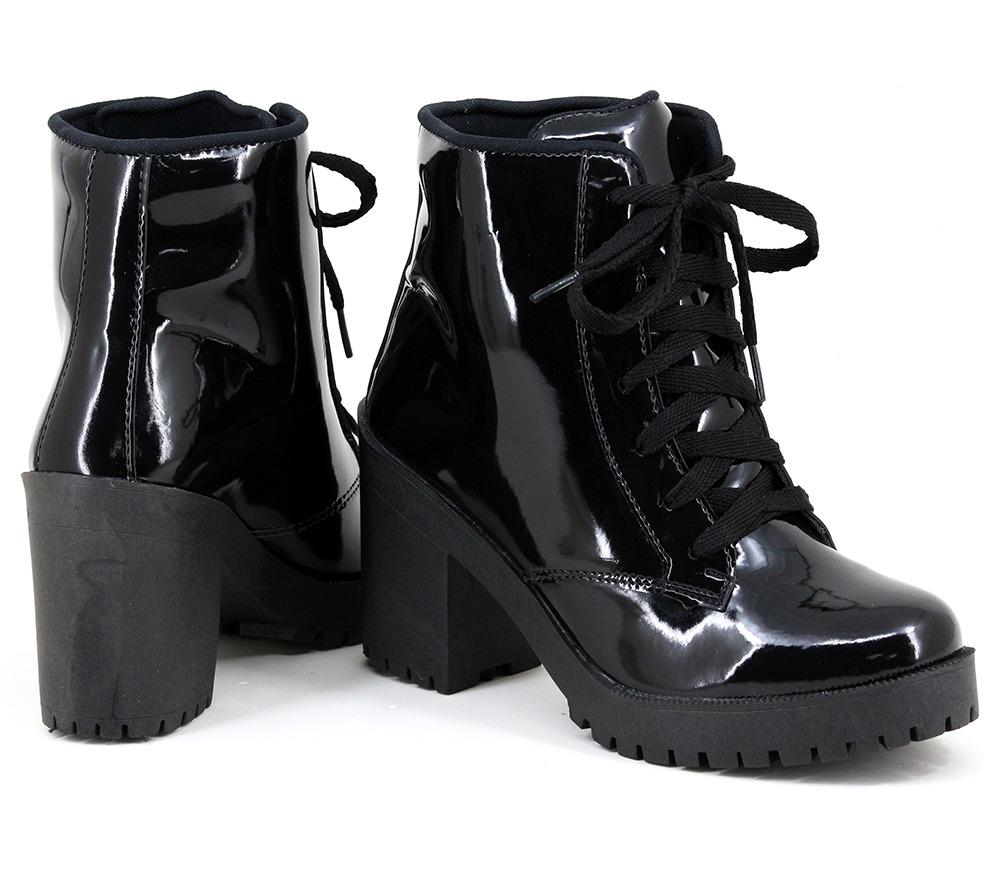 2d41df86fe coturno bota feminina verniz preto salto alto grosso linda. Carregando zoom.