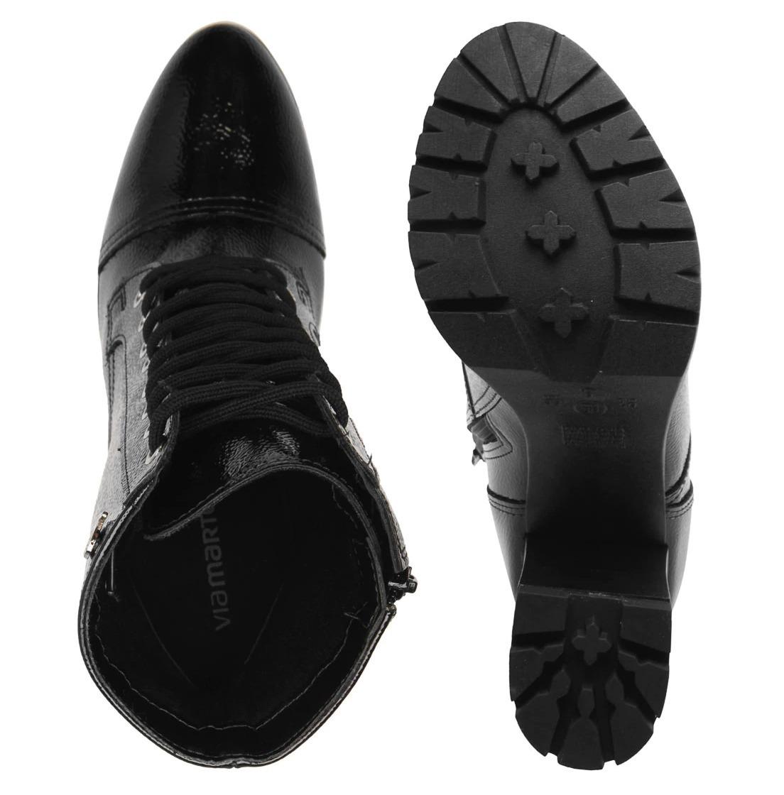 312dcf5a9 coturno bota feminina via marte 18-903 original preto verniz. Carregando  zoom.