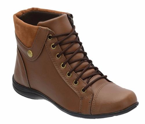 coturno bota feminino montaria cano curto baixo flat khaata