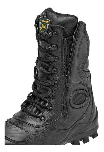 coturno bota militar motociclista couro palmilha gel zíper