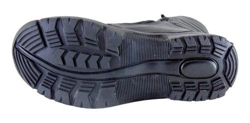 coturno bota militar motociclista zíper lateral 100% couro