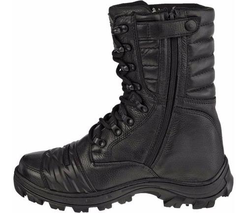 coturno bota militar motoqueiro em couro legítimo com zíper