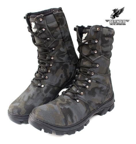 coturno bota militar táctic airsoft paintbal couro camuflado