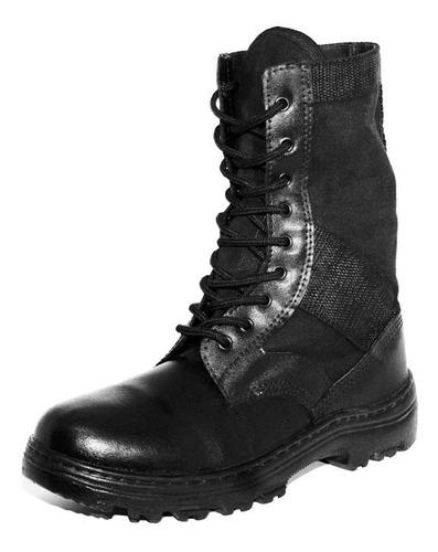 coturno bota militar tática em couro e lona