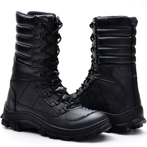 coturno bota militar ziper lateral tatico policial confort