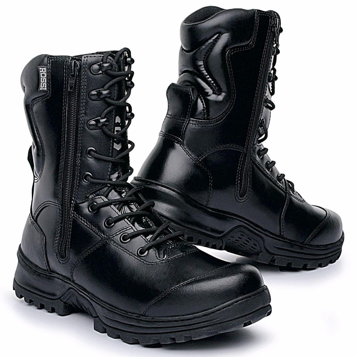 bc72ad3017 coturno bota militar ziper tatico preto padrão polícia couro. Carregando  zoom.
