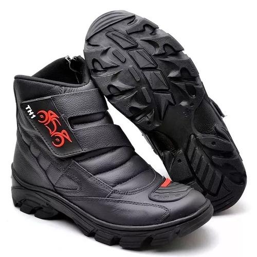coturno bota motociclista, motoqueiro, em couro legitimo