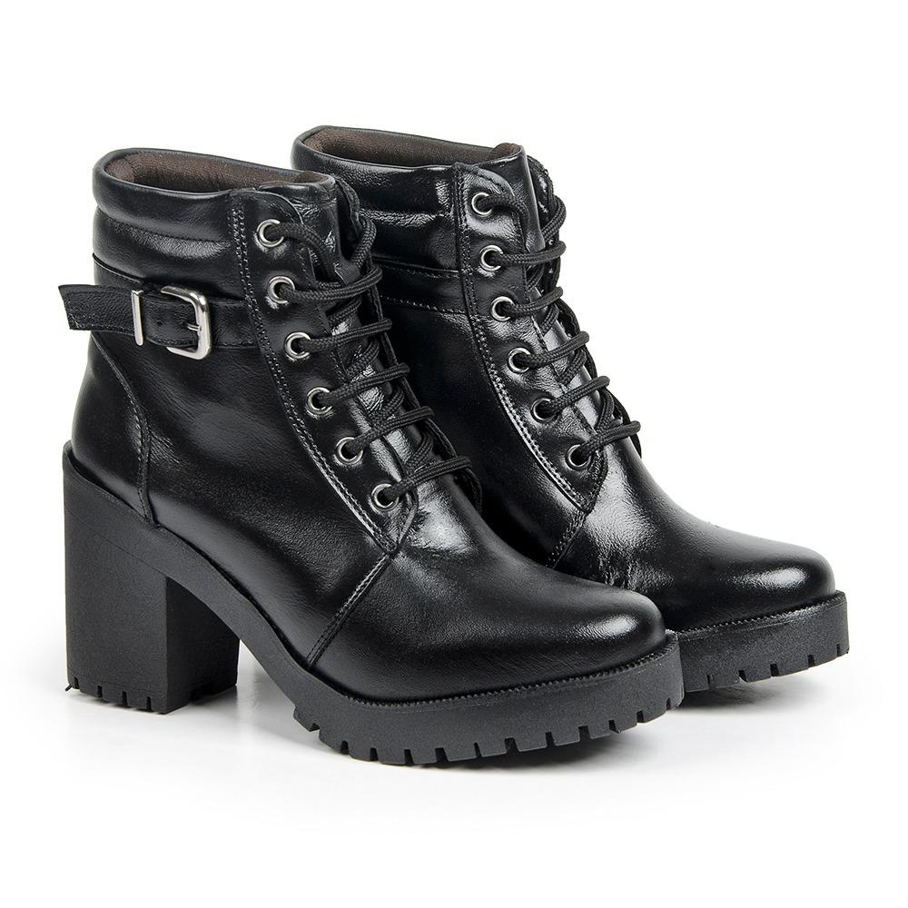 345951d6a coturno feminino bota em couro cano curto + bolsa promoção. Carregando zoom.