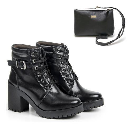 coturno feminino bota em couro legítimo cano curto + bolsa