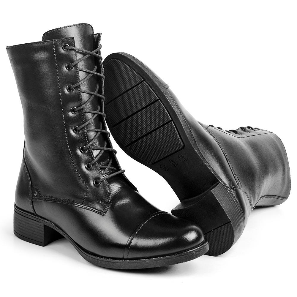 d4db4aefe4 coturno feminino botinha cadarço couro legítimo frete grátis. Carregando  zoom.